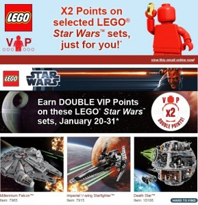 LEGOShop Double VIP Points Star Wars Promotion - Toysnbricks
