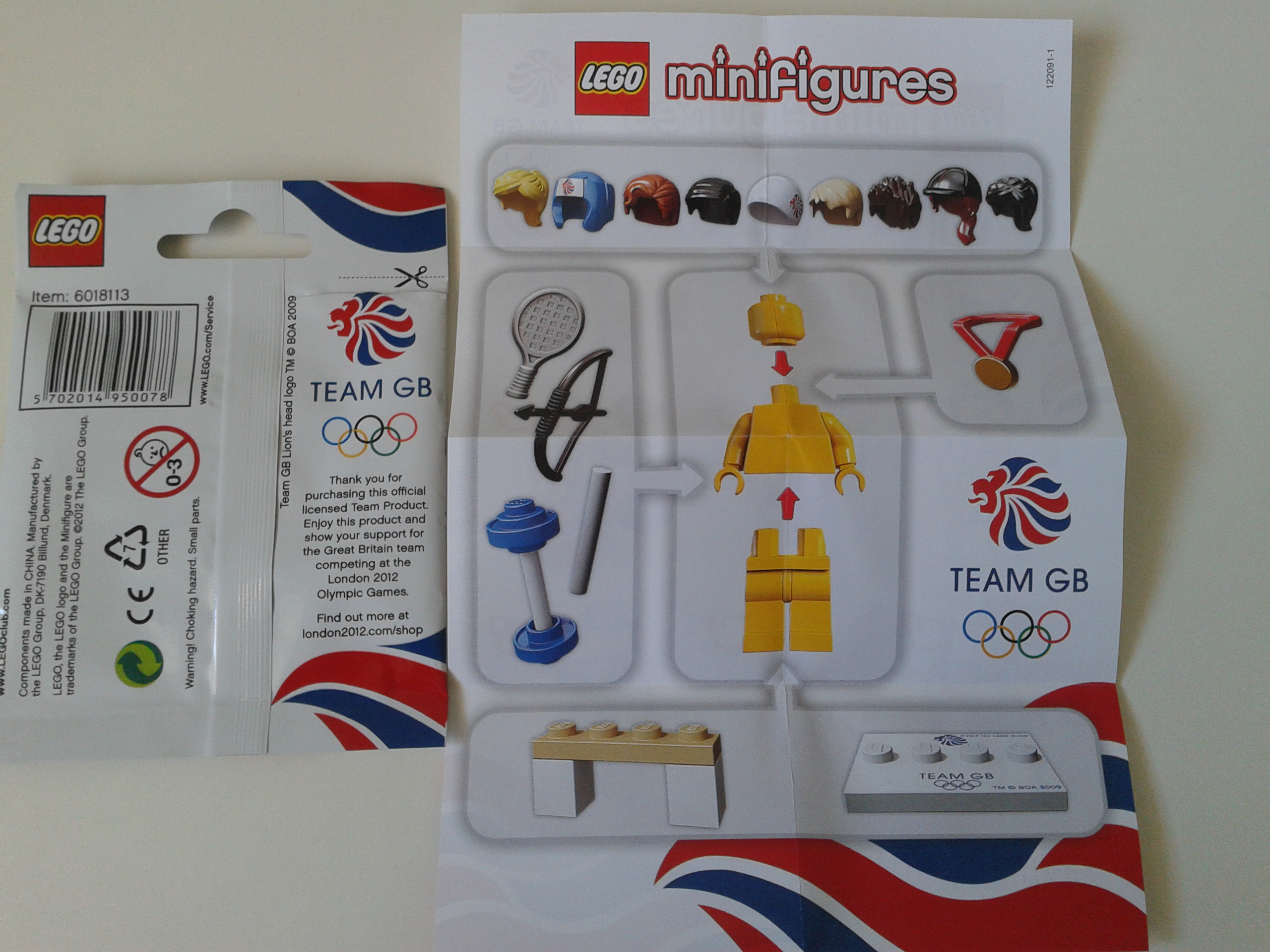 LEGO Minifigure Team GB London 2012 Olympics Wondrous Weightlifter 8909 Complete