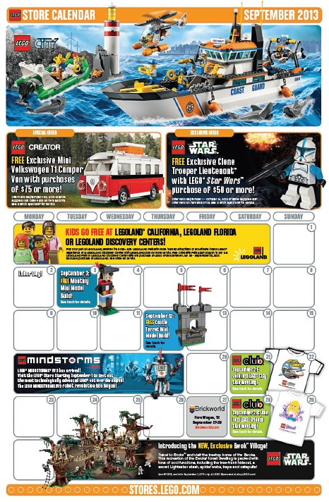 September 2013 LEGO Store Calendar - Toysnbricks