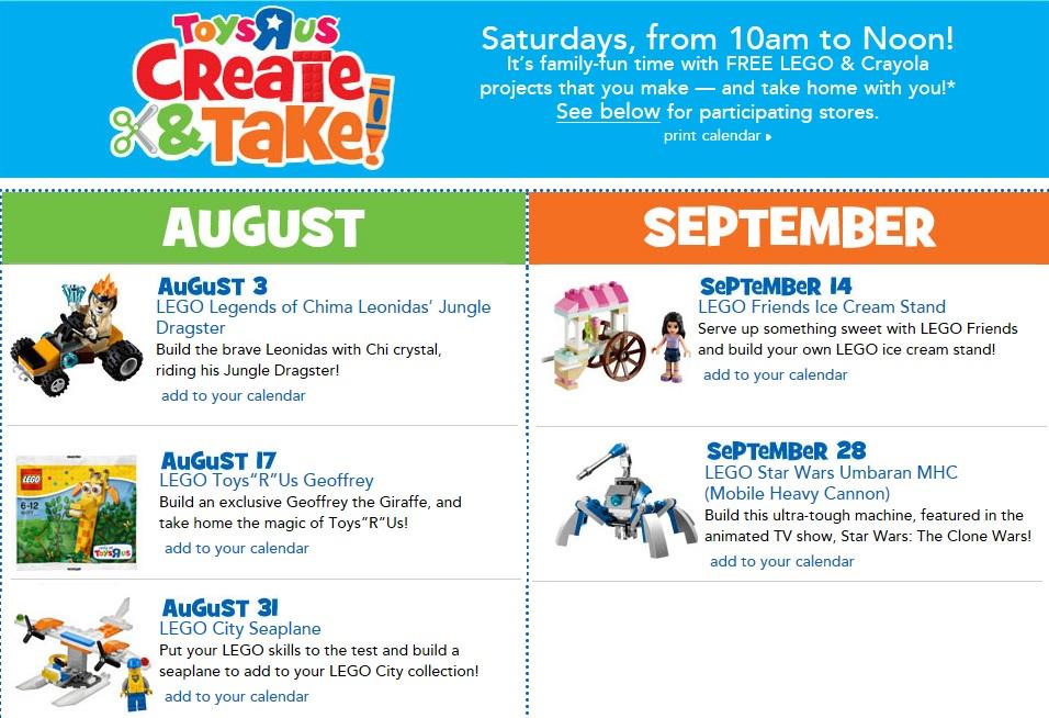 ToysRUs 2013 August & September FREE LEGO Create & Take Event