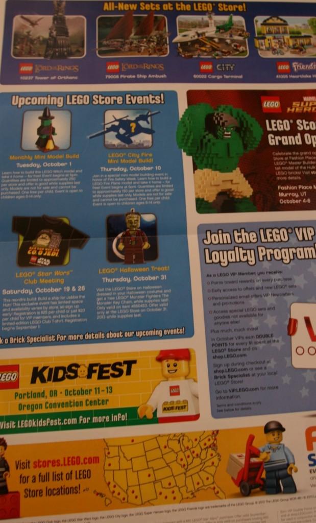 LEGO Store Calendar October 2013