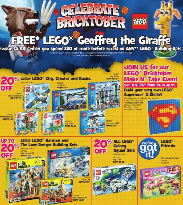 ToysRUs Canada LEGO Bricktober 2013 Week 5 Sale