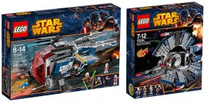 LEGO Star Wars 75046 Coruscant Police Gunship, 75044 Droid Tri-Fighter