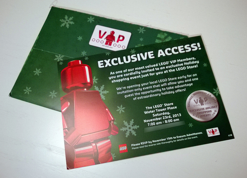 LEGO VIP Exclusive Holiday Shopping Event 2013 Card