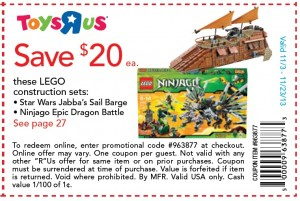 ToysRUs USA Holiday November 2013 LEGO Coupon