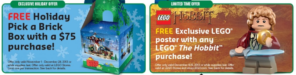 December 2013 LEGO Store Calendar Promotions
