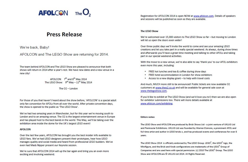 AFOLCON 2014 LEGO Press Release