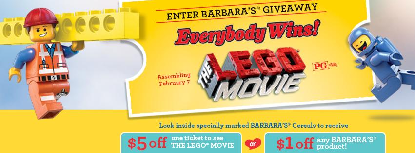 Barbara's Cereal & Snacks LEGO Movie Promotion 2014