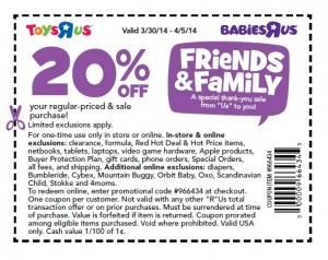 ToysRUs 20 off Friend & Family 2014 April LEGO Coupon