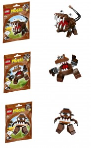 LEGO Brown Mixels 41512 41513 41514 Chomly Gobba Jawg - Toysnbricks