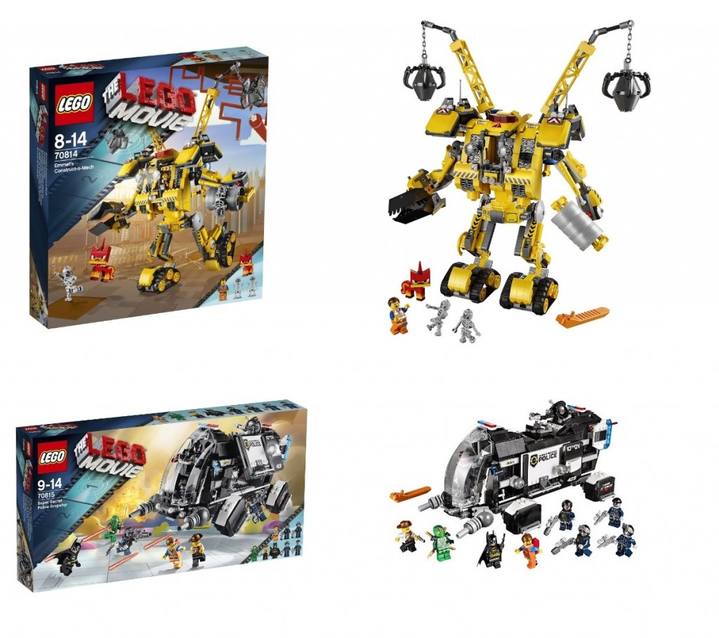 Movie 70814 LEGO Emmet's Construct-o-Mech, 70815 LEGO Super Secret Police Dropship - Toysnbricks