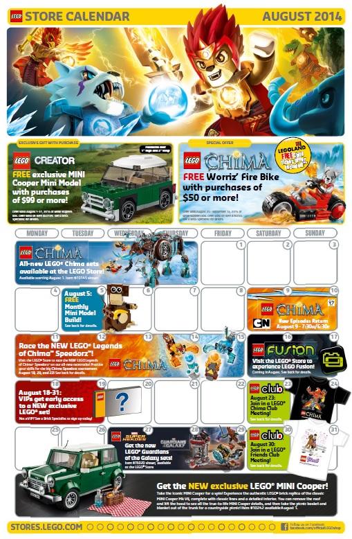 August 2014 LEGO Brand Store Calendar - Toysnbricks