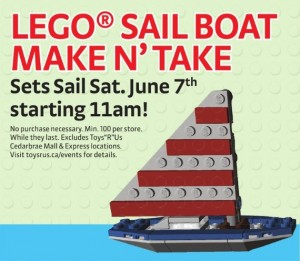 LEGO Sailboat Make N Take Building Event June 2014 ToysRUs Canada
