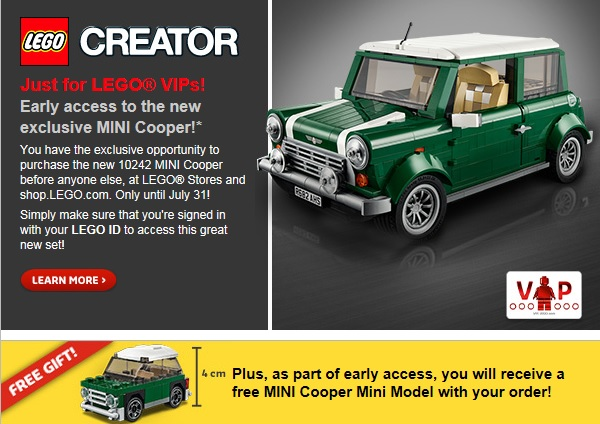 LEGO Creator MINI Cooper 10242 VIP Early Access Gift Promotion - Toysnbricks