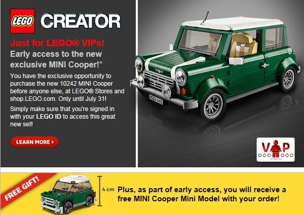 LEGO Creator MINI Cooper 10242 VIP Early Access Gift Promotion - Toysnbricks