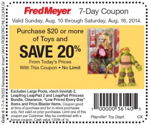 Fred Meyer August 2014 LEGO Sale Coupon USA