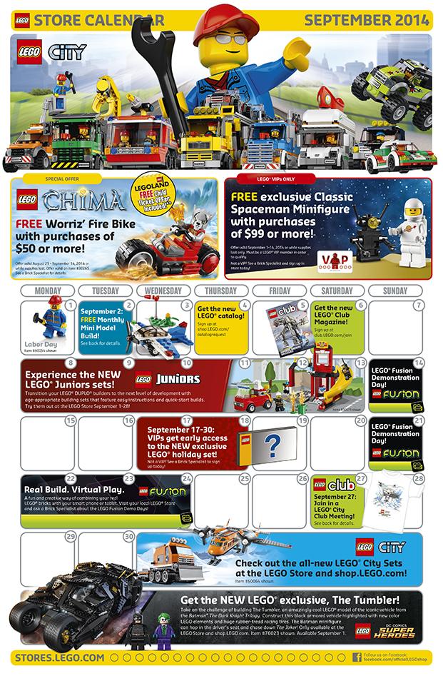 LEGO Brand Store Calendar September 2014