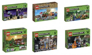 LEGO Minecraft Microworld 2015 Sets 21117 The Ender Dragon, 21116 Creative Box, 21115 The First Night, 21118 The Mine, 21114 The Farm, 21113 The Cave