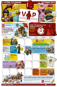 October 2014 LEGO Store Calendar - Toysnbricks