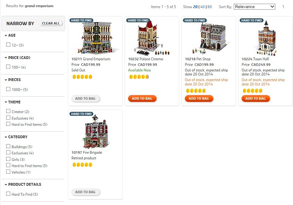 LEGO Modular Buildings October 2014 Availability Update 10211 Grand Emporium
