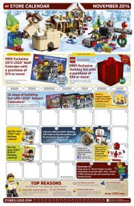 November 2014 LEGO Store Calendar
