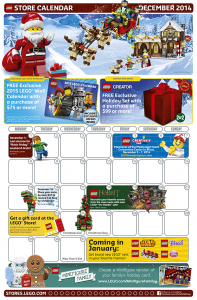 December 2014 LEGO Store Calendar