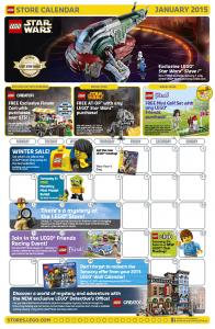 January 2015 LEGO Store Calendar
