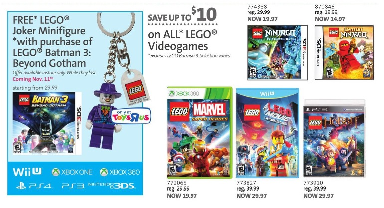 ToysRUs Canada Holiday 2014 Toy Book LEGO Video Games Sale