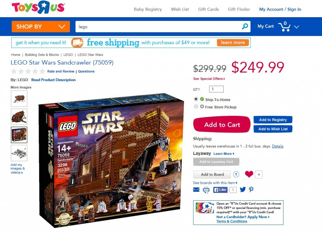 ToysRUs USA LEGO Sandcrawler 75059 November 2014 Sale