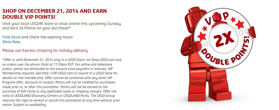 December 2014 Final Double VIP Points Promotion LEGO Shop & Store - Toysnbricks