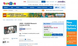 ToysRUs Canada LEGO Cuusoo Research Institute Ideas Pre-Order 2014 December