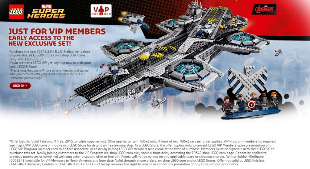 LEGO 76042 S.H.I.E.L.D. Helicarrier VIP Early Access February 2015 - Toysnbricks