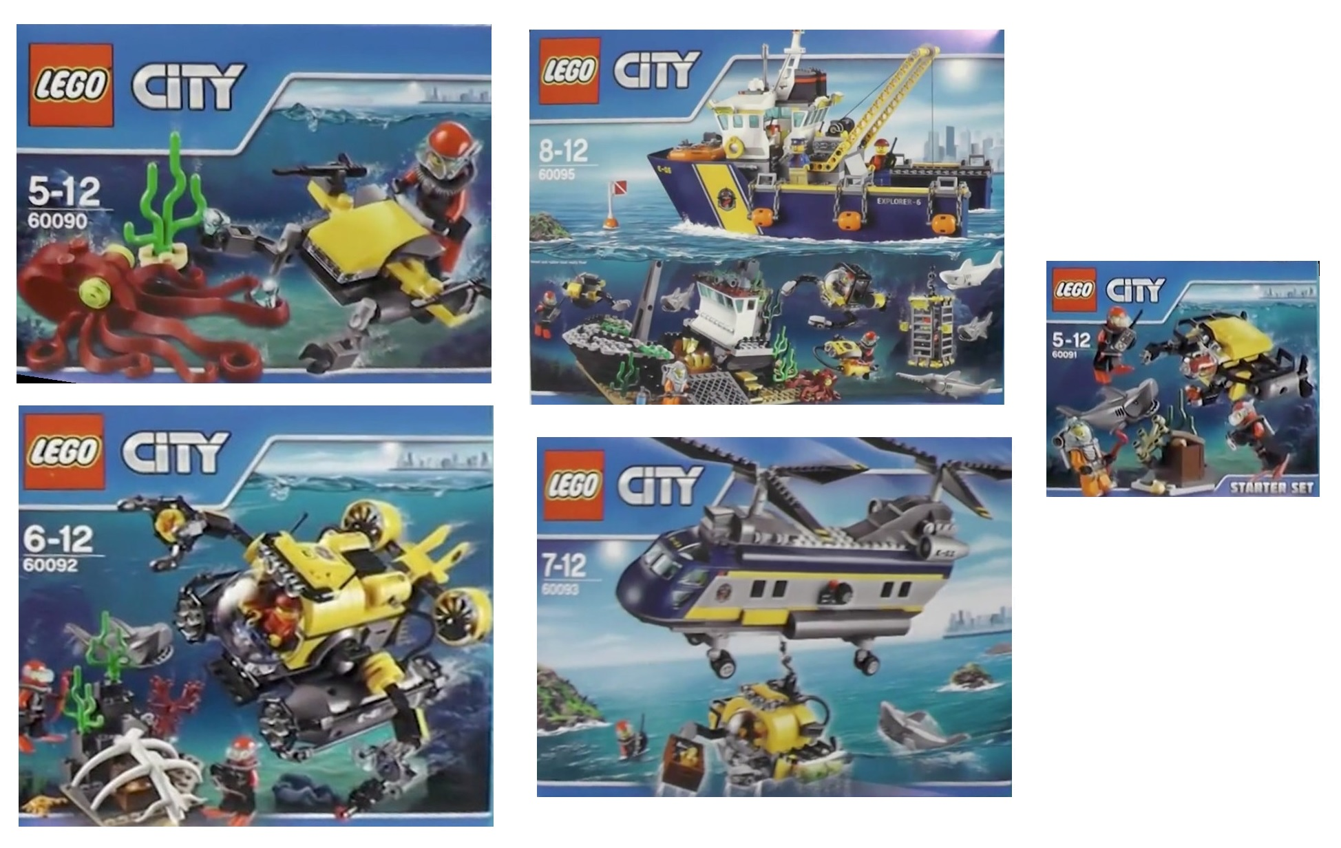 LEGO City Deep Sea Explorer 2015 Sets 60090 Scuba Scooter, 60091 Deep Sea Starter Set