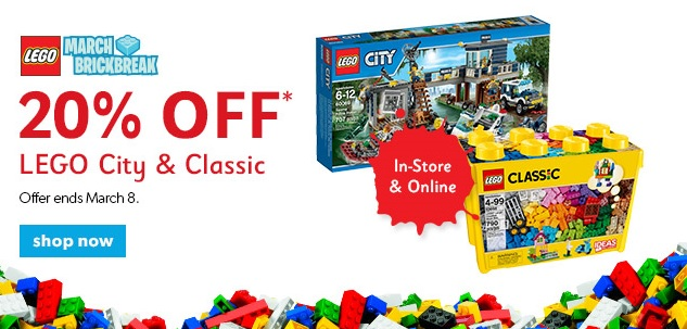 Chapters Canada LEGO City & Class Sale March 2015