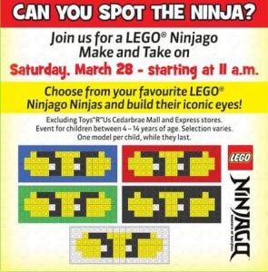ToysRUs Canada LEGO Ninjago Building Event Ad March 2015 - Toysnbricks