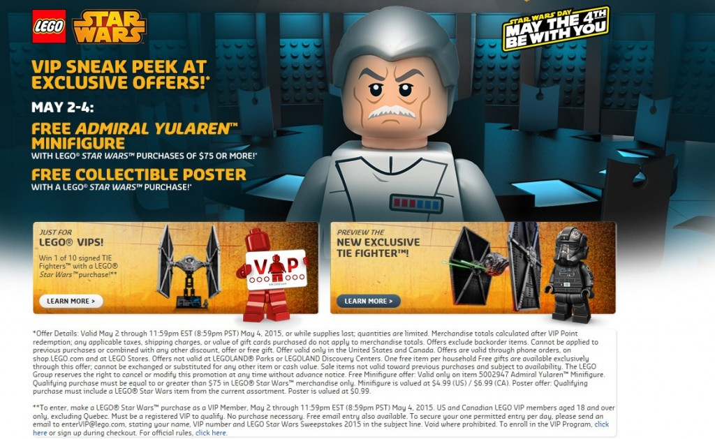 LEGO Star Wars May the 4th be with you 2015 Sale Promotional Offers - Toysnbricks