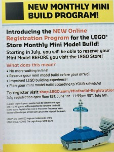 Free Monthly Mini Model Build LEGO Store Changes July 2015 - Toysnbricks