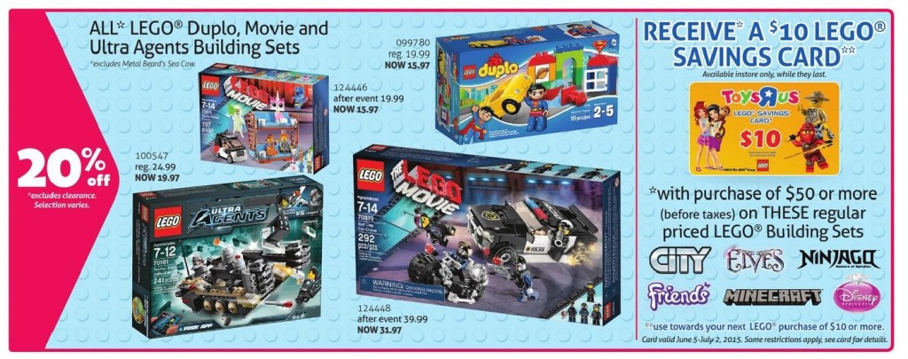 May 2015 LEGO Sale Canada Toys R Us