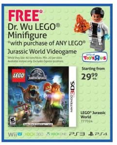 LEGO Dr. Wu Minifigure Jurassic World Video Game Bonus June 2015