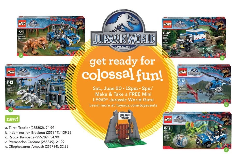 ToysRUs USA Jurassic World LEGO Sets Launch and Free World Gate Building Event June 2015
