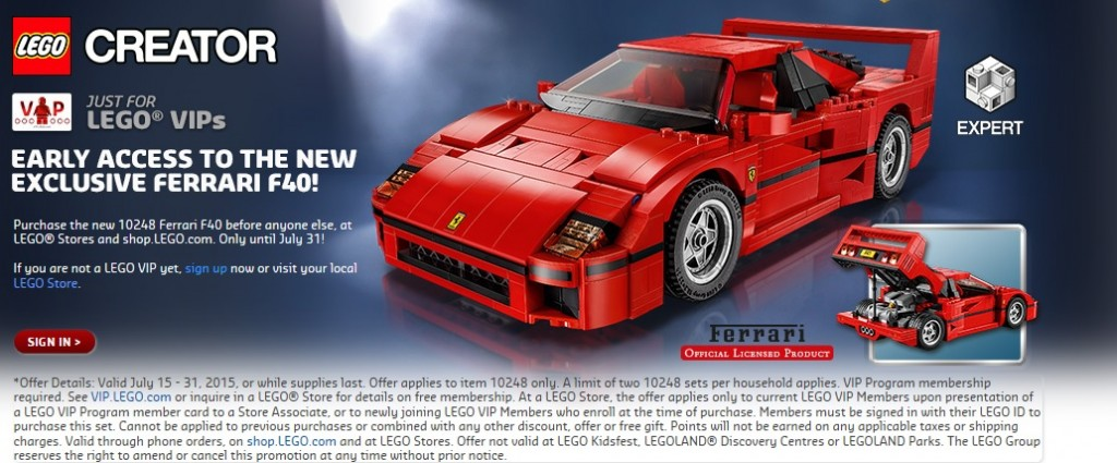 LEGO Creator Expert 10248 Ferrari F40 VIP Early Access July 2015