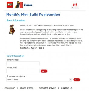 LEGO Store August 2015 Mini Model Build Registration Kangaroo
