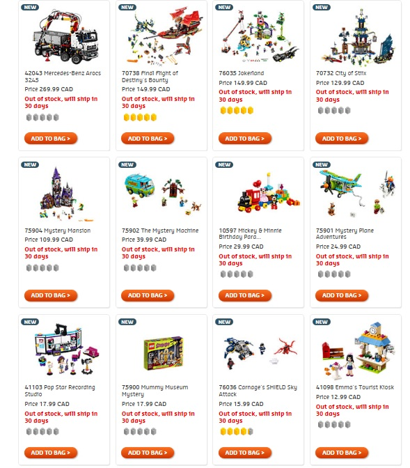 August 2015 LEGO Sets Out of Stock New Summer