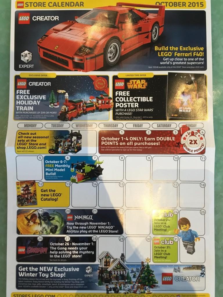October 2015 LEGO Store Calendar Brand Retail