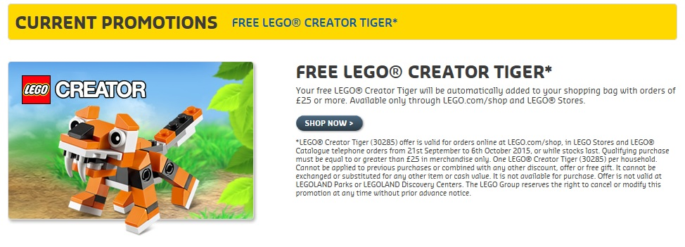 LEGO 30285 Creator Tiger UK LEGOShop Free Gift October 2015