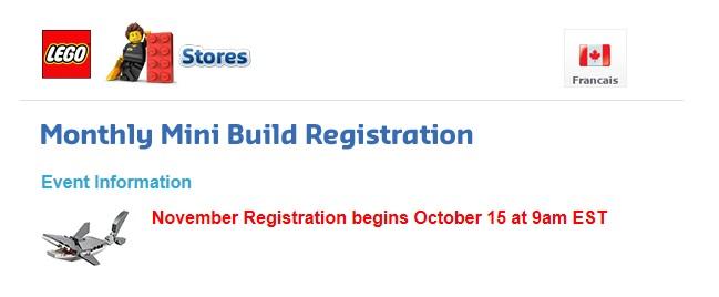 November 2015 LEGO Monthly Mini Model Build Registration Shark