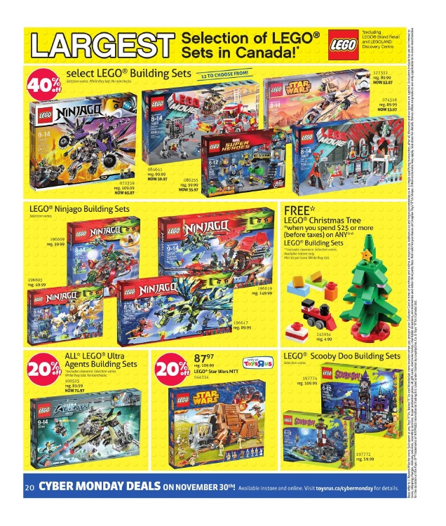 2015 ToysRUs Canada LEGO Black Friday Sale