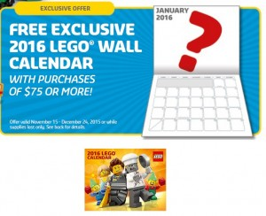 2016 Exclusive LEGO Wall Calendar Holiday Promotion LEGO Store