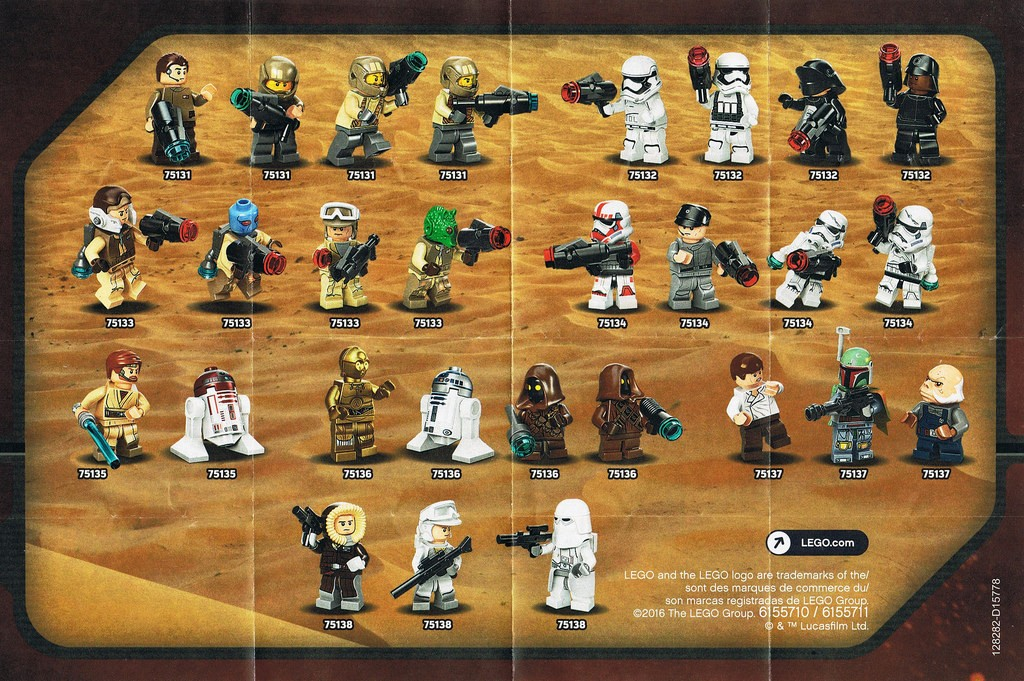 2016 LEGO Star Wars Set Minifigures 75131 75132 75133 75134 75135 75136 75137 75138