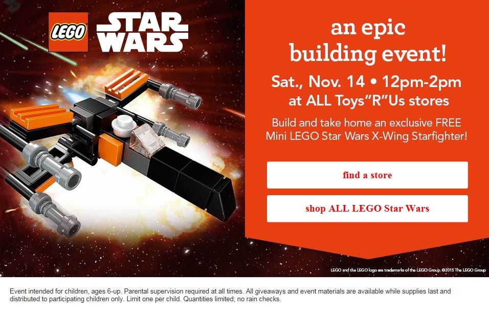 November 2015 LEGO Building Event ToysRUs USA Star Wars Fighter